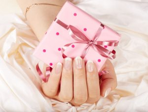gift certificate in a pink box