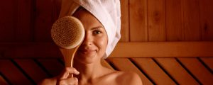 woman dry brushing