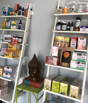 wellness products on display at Eagle Rock Community Acupuncture