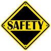 yellow and black safety sign